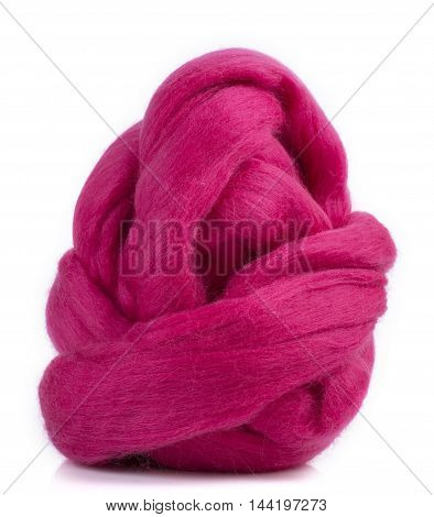 Hank merino wool of red color on a white background