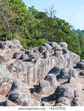 Sandstone node cliff in the national park of Thailand.