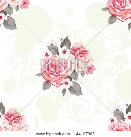 Seamless floral pattern with roses Vector Illustration EPS8