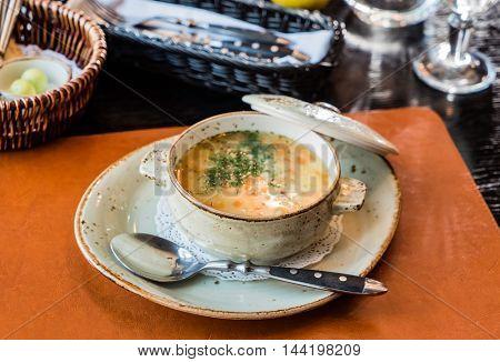 rassolnik soup in a bowl