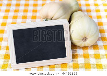 Slate With Copyspace, Butternut Squash On A Yellow Tablecloth