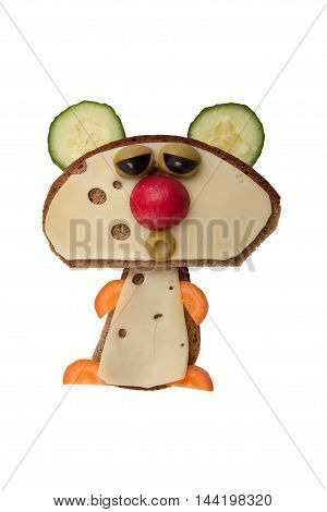 Funny bear made of bread and cheese on isolated background