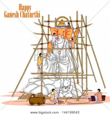 easy to edit vector illustration of artist making statue of Lord Ganpati for Ganesh Chaturthi