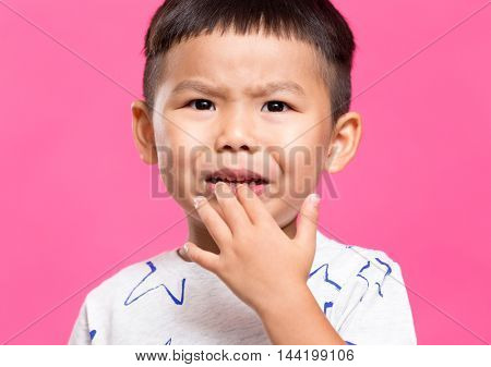 Asian boy want to cry