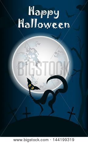halloween black cat on a background of the moon on pumpkins card poster