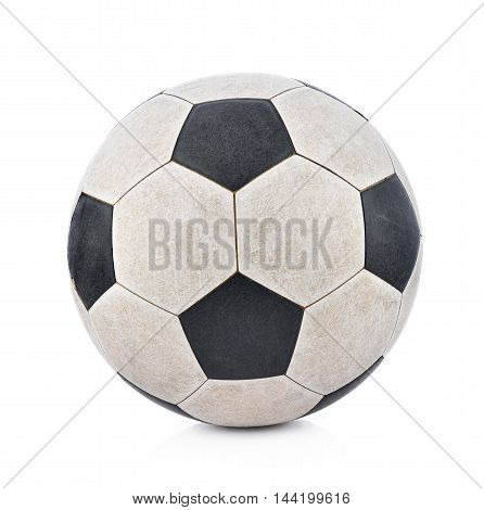 Old soccerball on white background black dirty