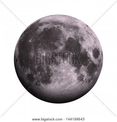 Solar System - Moon. Isolated Planet On White Background.