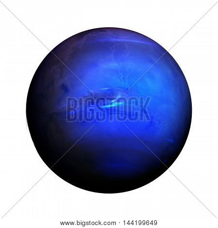 Solar System - Neptune. Isolated Planet On White Background.