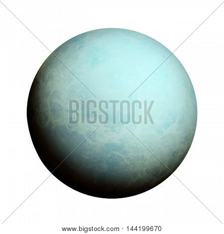 Solar System - Uranus. Isolated Planet On White Background.