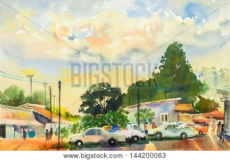 watercolor original landscape painting yellow orange color of locals market in sky and cloud background