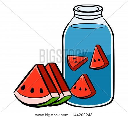 A Vector illustration of watermelon infused water