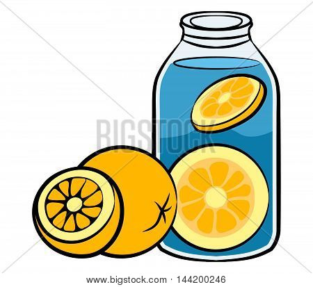 Vector illustration of orange infused water solid line art