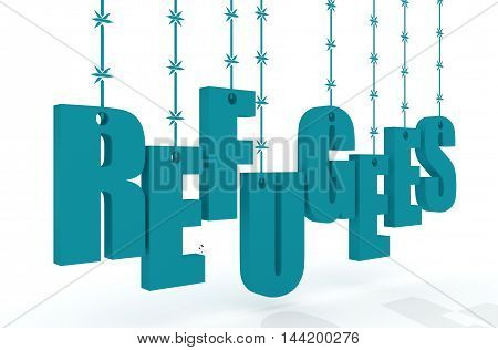 Image relative to migration from africa to european union. Refugees text hanging by barbed wire. 3d rendering