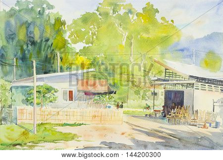 watercolor original landscape painting of locals market and mountain in cloud background