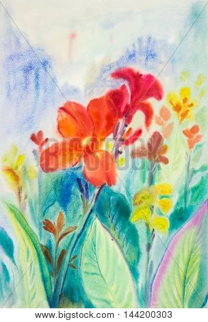 Watercolorl painting red color of canna flower and green leaves in blue background.Original painting