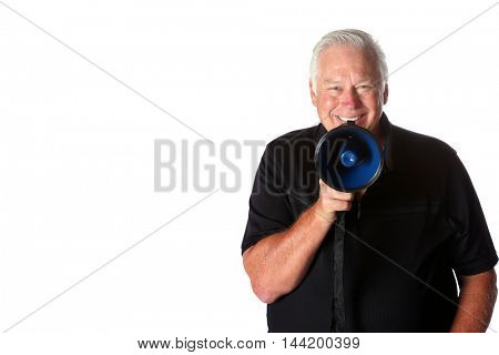 Man with a Megaphone. Isolated on white with room for your text.