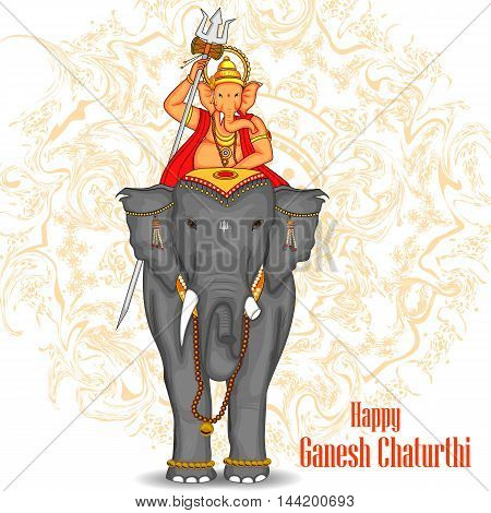 easy to edit vector illustration of Lord Ganpati riding on elephant for Ganesh Chaturthi background