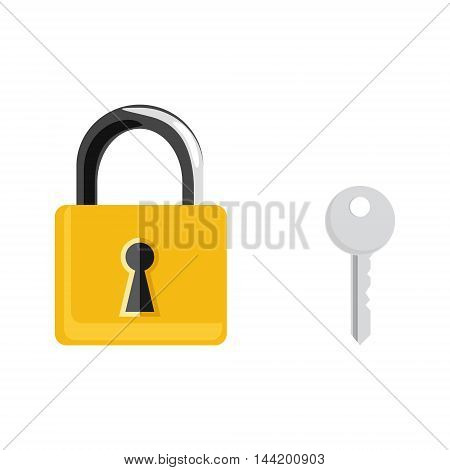 Vector illustration closed golden lock and silver key isolated on white background. Lock key icon set collection. Padlock