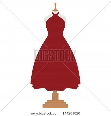 Vector illustration red bordo elegant cocktail and evening woman dress design on mannequin for boutique.