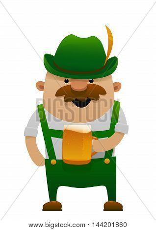 Vector illustration of cartoon oktoberfest man with beer isolated