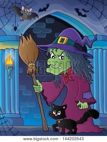 Witch with cat and broom theme image 5 - eps10 vector illustration.