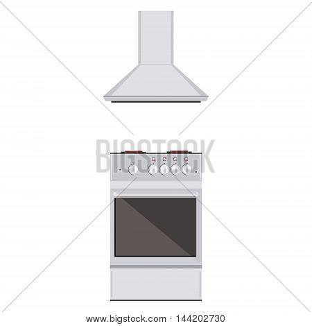 Vector illustration modern electric or gas stove and extractor kitchen hood. House appliance. Kithcen appliance