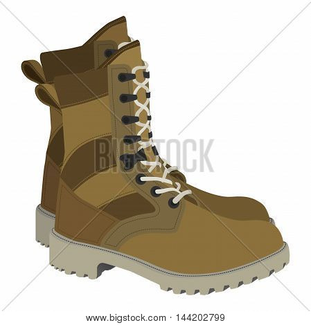 Army boots illustration in vector style. Flat american or british soldier boots. Military set for police, hunters or SWAT.