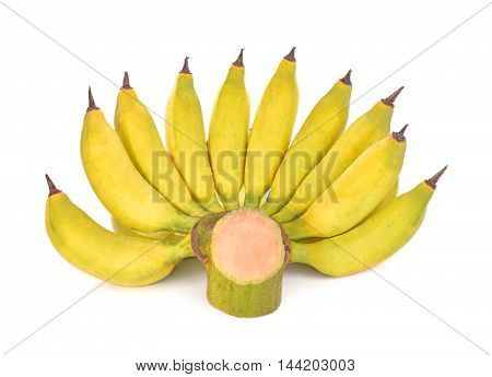 Banana fruit on white background food yellow