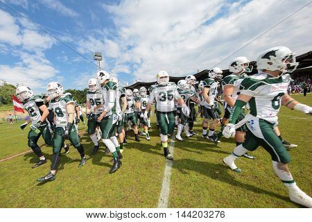 VIENNA, AUSTRIA - MAY 17, 2015: The team of the Schwaebisch Hall Unicorns before a game of the Big Six Football League.