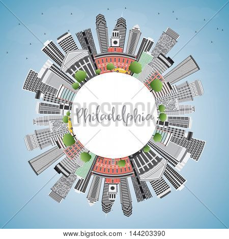 Philadelphia Skyline with Gray Buildings, Blue Sky and Copy Space. Business Travel and Tourism Concept with Philadelphia City. Image for Presentation Banner Placard and Web Site.