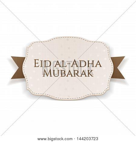 Eid al-Adha Mubarak paper Banner on textile Ribbon
