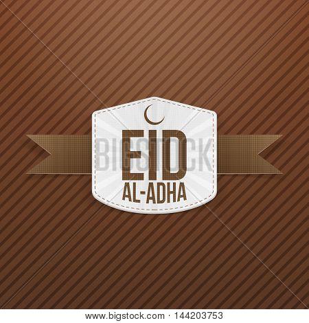 Eid al-Adha white paper Tag on brown Ribbon