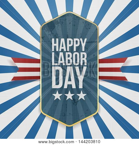 Happy Labor Day Text on Badge with Ribbon