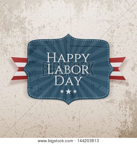 Happy Labor Day Text on textile Tag