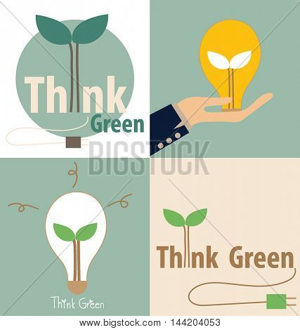 Think green, Eco concept. Light bulb with tree inside. Vector illustration