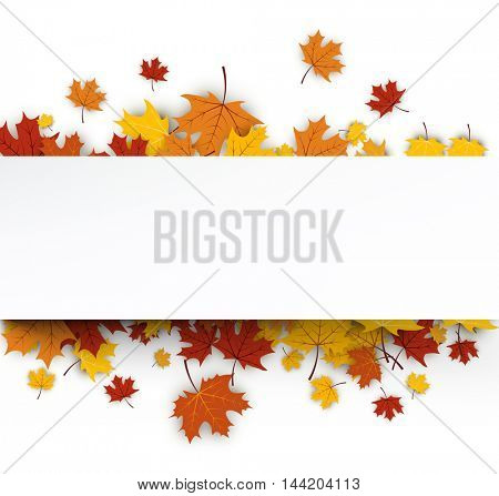 Autumn background with golden maple leaves. Vector paper illustration.