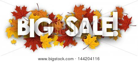 Big sale autumn banner with golden maple leaves. Vector paper illustration.