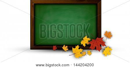 Back to school background with blackboard and maple leaves. Vector illustration.