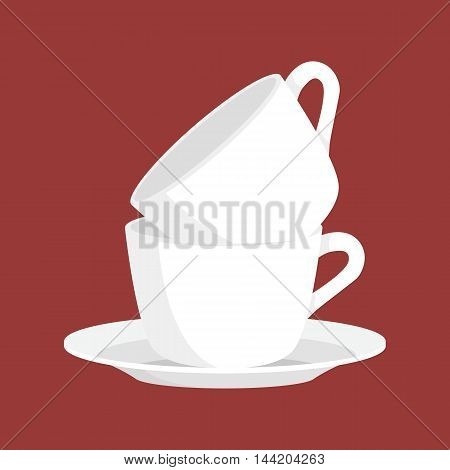Kitchen household cutlery clean teacups and white ceramic plate stacked vector illustration set