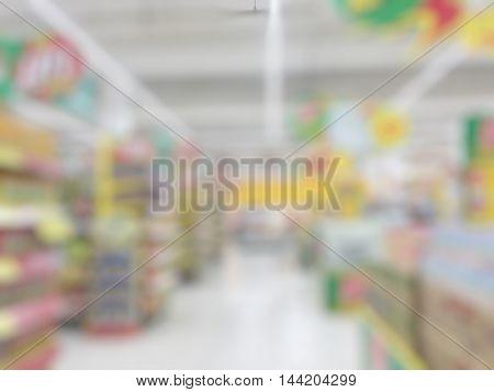 Blurred supermarket background. Blurred department store background.