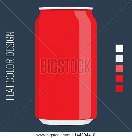 Blank Tin can packaging. Vector Mock up template with flat color style design.