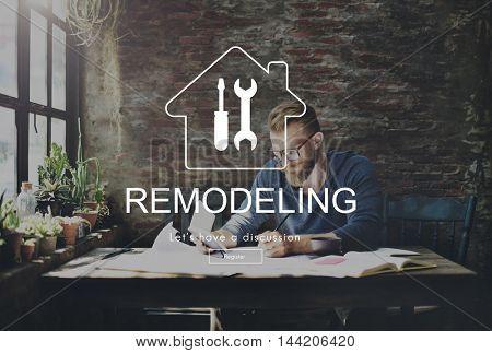 Man Working Determine Workspace Lifestyle Concept