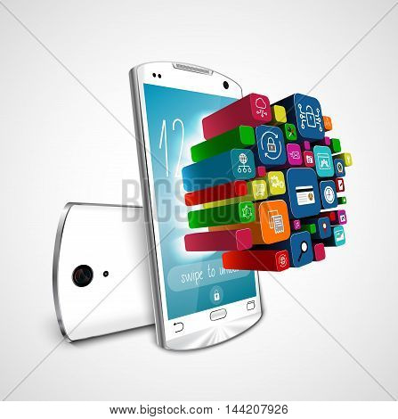 White smartphone with application icons isolated on white background. 3D illustration