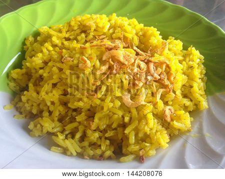 Muslim yellow rice, Thai Muslim food background