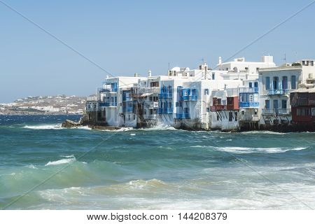 Mykonos, Greece - August 14 2016: Aleykantra's traditional white houses. Small Venice starts from Alefkantra beach and stretches up to the Castle area.