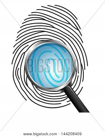 Illustration of Magnifying glass on Fingerprint isolated on white background
