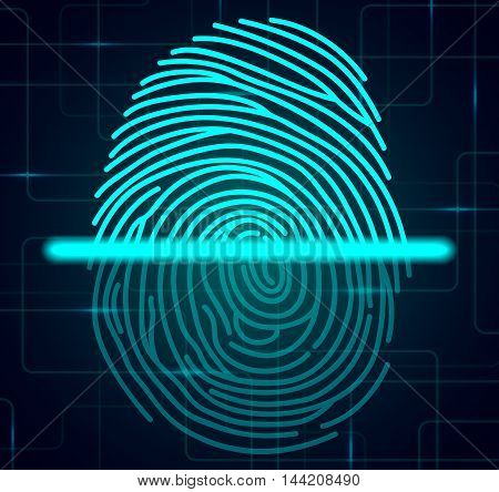 Illustration of blue  fingerprint scanner illustration on abstract background