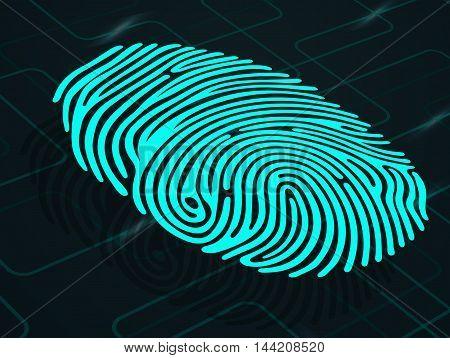 Illustration of  blue fingerprint on abstract background