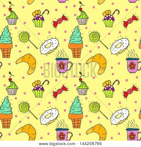 seamless bright pattern with cakes, sweets, candies and cupcakes.
