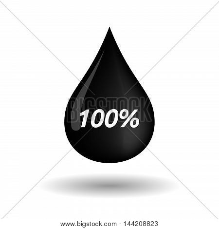 Isolated Oil Drop Icon With    The Text 100%